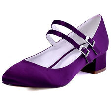 FC1615 Closed Toe Pump Chunky Heel Mary Jane Satin Evening Party Shoes AU 4-12