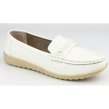 Amblers Ladies Thames Slip On Moccasin Style Shoe White