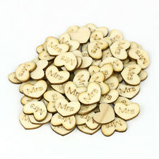 300Pcs Wedding Love Hearts Wooden Shabby Wood Table Scrapbook Confetti Favours