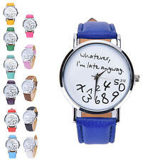 "Fashion Womens ""Whatever I'm late anyway"" Wristwatch Leather Quartz Watch CC"