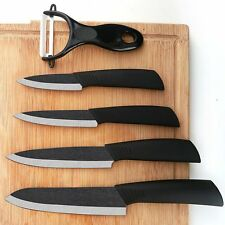 "Top quality black blade 3"" 4"" 5"" 6"" + Peeler + covers ceramic knife set CA-523"
