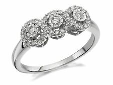 F.Hinds Womens Jewellery 9ct White Gold Trilogy Diamond Engagement Ring - 1/4ct