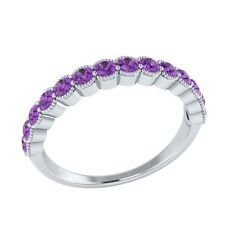 0.60 ct Natural Purple Amethyst Solid Gold Half Eternity Wedding Band Ring