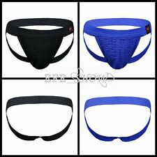 Black/Blue Men Athletic Supporter Jockstrap Sport Briefs Underwear Underpants US