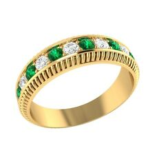 0.50 ct Real Emerald & Certified Diamond Solid Gold Half Eternity Wedding Band
