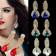 1 Pair Women Crystal Gold Plated Earrings Ear Studs Teardrop Rhinestone Dangle