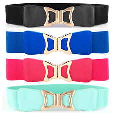 Women Lady Golden Bow Buckle Elastic Belt Faux Leather Stretch Waist Band NY002