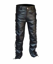 """4Fit™ Men's Thick Cow Leather Side Laces Jeans Model Pant Waist 28"""" to 46"""""""