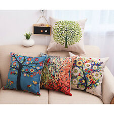 Colorful Tree Flowers Birds Pillow Case Graceful Cushion Cover Home Office Decor