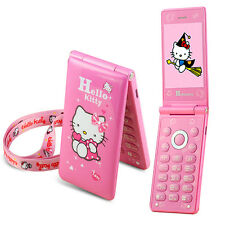 2017 Flip Cute Hello Kitty Student Child Girls Dual SIM Cell Phone Mobile Camera