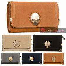 NEW FAUX SUEDE FLAP FAUX LEATHER GOLD DETAIL ON FRONT SHOULDER CLUTCH BAG