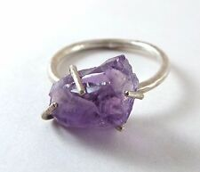 Raw Amethyst 4 Prong Sterling Silver Ring