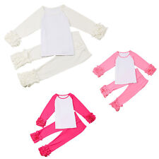 Baby Kids Girls Icing Ruffle Cotton T Shirt Tops Pants Leggings Clothes Outfits