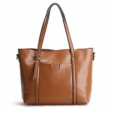 Simple Genuine Leather Tote Shoulder Crossbody Lady Outdoor Street Large Handbag