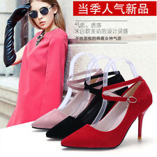 Women's Fashion Sexy Color Pointed Toe Patent Ankle Strap Pump Heels Shoes NEW