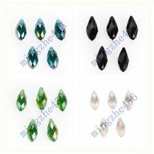 5pcs Teardrop Faceted Pendant Glass Crystal Beads Findings 10x20mm Charms
