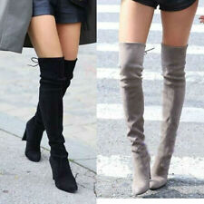 WOMEN FAUX SUEDE THIGH HIGH BOOTS OVER THE KNEE STRETCH SEXY HEELS WOMAN SHOES
