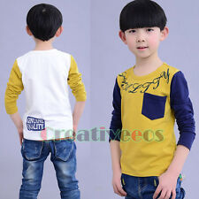 Fashion Kids Toddlers Boy Stitch Color Letter Print 100% Cotton Tee Tops T-Shirt