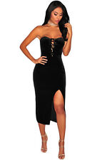 Velvet Lace up Sexy Women Strapless Front Slit Midi Dress Evening Cocktail Party