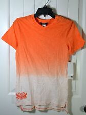 NWT BOYS KIDS GUESS ORANGE WHITE FADED SHORT SLEEVE V NECK T SHIRT SZ 4-6