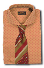 Dress Shirt Seven Land-Rounded Cutaway Collar-FrenchCuff-Mustard/Rust-DA617-RU