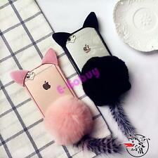 3D Cute cartoon pink cat ear Furry Hairball case cover for iphone SE 7 6S plus