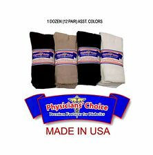 1 DOZEN (12 PAIR) DIABETIC CREW SOCKS BY PHYSICIANS CHOICE IN ASSORTED COLORS
