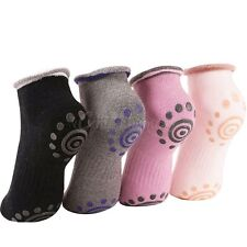 Pack of 4 Non Slip Skid Yoga Pilates Socks with Grips Cotton for Women