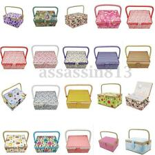 Sewing Basket Single Handle Foxes Gift Box Needle Pin Thread Floral Storage Case