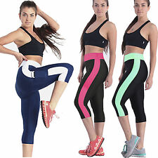 Womens Capri Pants Gym Yoga Running Compression Fitness Running Leggings Jogger