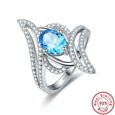 Free Jewelry Box Gift Swiss Blue Topaz 925 Sterling Silver Ring Size L½ N½ P½ R½