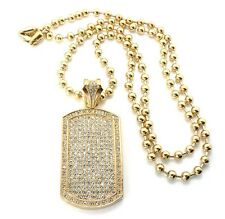 """Gold Military Dog Tag Pendant 30"""" Ball Bead Chain Necklace Mens Fashion Jewelry"""