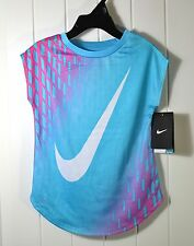 NWT GIRLS YOUTH NIKE DRI FIT GAMMA BLUE SHORT SLEEVE ACTIVE T SHIRT SZ 4T, 4, 6
