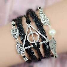 New Harry Potter Deathly Hollows Infinity Owl Angel Wing Leather Bracelet Charms