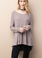Easel long sleeve thermal like waffle knit deep V neck flyaway tunic top S M L