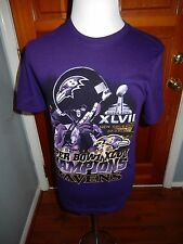 Baltimore Ravens SUPER BOWL XLVII Champions Purple Small T-shirt Roster on Back