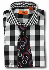 Dress Shirt Steven Land -  Spread Collar  French Cuff-Black-DC50-BK