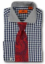 Dress Shirt Steven Land - Spread Collar  French Cuff-Navy/Blue-DC51-NV