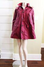 2015 New AUTH Red Valentino Wide Flare Fur Hooded Coat in Burt Red $1350