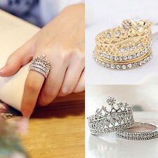 Women's Fashion Queen Crown Pattern Ring Set Rhinestones Two-piece Rings Natural