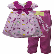 NWT Laura Ashley Baby Girls Outfit Clothes Top Legging Headband Size 3 6 9 month