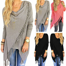 Women's Irregular Tassel Cardigan Ladies Jumper Sweater Boho Poncho Knitted Tops