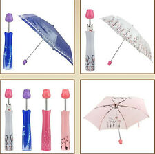 3-Fold Anti UV Sun Umbrella Creative Rose Vase Folding Sun Rain Umbrella Gift