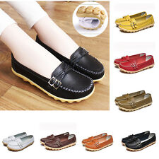 Womens Lady Oxfords Flats Shoes Leather Ballet Loafers Boat Shoes Casual Comfort