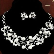 1pc/Set Women Imitation Pearl Crystal Necklace Earring Fashion African Jewelry