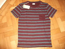 MENS SELECTED HOMME HERITAGE SH ANTON SS T SHIRT WINE/NAVY POCKET T SHIRT LG NEW