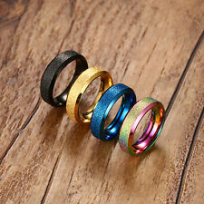 6mm Dull Polish Stainless Steel Band Black/Blue/Gold/Multi-color Ring Size 6-10