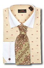 Dress Shirt Steven Land  Spread Collar Angle French Cuff- Cream -DW651-CR