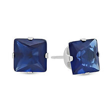Princess Cut Simulated Sapphire Blue CZ Sterling Silver Stud Earrings