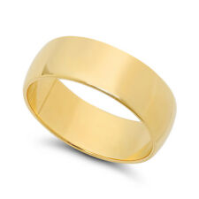 14k Yellow Gold Heavy Plated 7mm Smooth Domed Wedding Band Ring